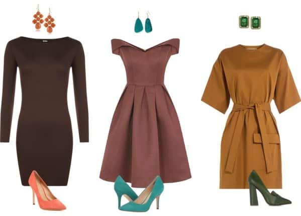 herhaal de accentkleur in je outfit voor een mooie kleurcombinatie met bruin